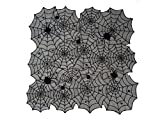 Premium Decor Set of 4 Halloween Lace Table Topper 40 Inch Square – Black