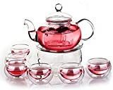 Glass Filtering Tea Maker Teapot with a Warmer and 6 Tea Cups (251511cm, red1)