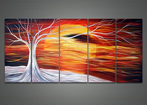 Designart OL1045 5 Piece Hand Painted Abstract Tree Painting Canvas by Design Art