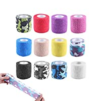 Adv-one Cohesive Bandage, Self Adhesive Tape Cohesive Wrap Bandages, Elastic Stretch Sports Tape for Wrist, Ankle Sprains Swelling, Pet Vet Wrap Bulk Stretch Tape,12 Colors