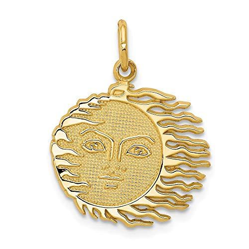 Real 14kt Yellow Gold Flaming Sun - Charm Sun Flaming