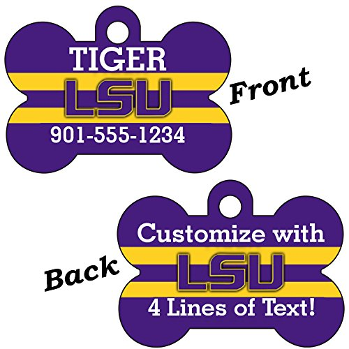 LSU Tigers Double Sided Pet Id Dog Tag Personalized With 4 Lines of Text
