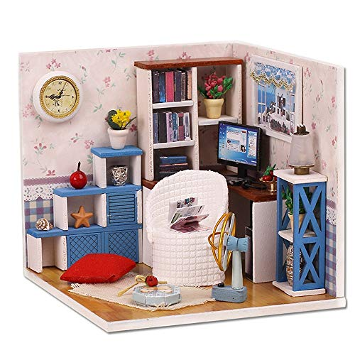 vmree DIY Miniature Furniture LED House Handcrafted Model Dollhouse 3D Puzzle Educational Toy Creative Festival Gift Kids Adults (Study)