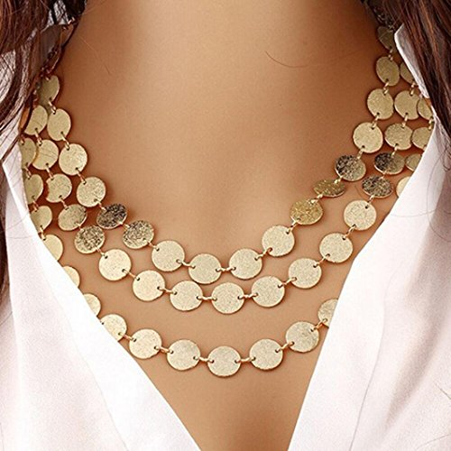 Botrong® Women Multi-layer Metal Clothing Accessories Bib Chain Necklace Jewelry (Gold) (Gold) (Gold Coin Memorial)