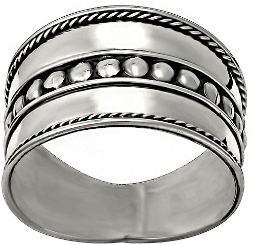 (Kinzie Fashion .925 Sterling Silver Wide Balinese Braided Design Cigar Band Ring, Size 8)