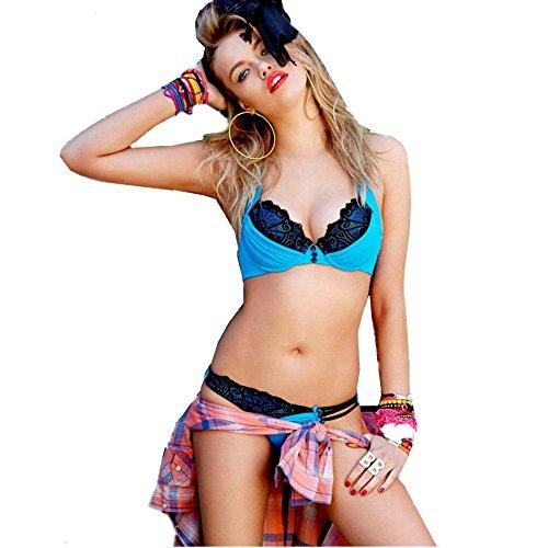 Aidonger - Elastano push-up bikini-set mujer tanga Azul Claro