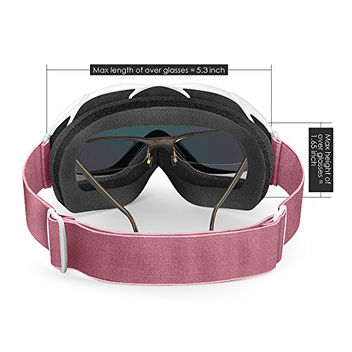 OutdoorMaster OTG Ski Goggles - Over Glasses Ski / Snowboard Goggles for Men, Women & Youth - 100% UV Protection (White Frame + VLT 13% Pink Lens with Full REVO Pink)