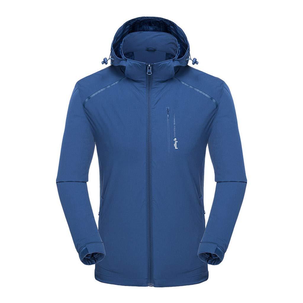 Fitfulvan Men's Waterproof Breathable Zipper Hoodie Sports Quick-Drying Jacket Sport Outdoor Coat Blue