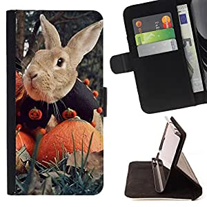 - Rabbit Cute - - Monedero PU titular de la tarjeta de cr?dito de cuero cubierta de la caja de la bolsa FOR Sony Xperia Z1 Compact D5503 Retro Candy