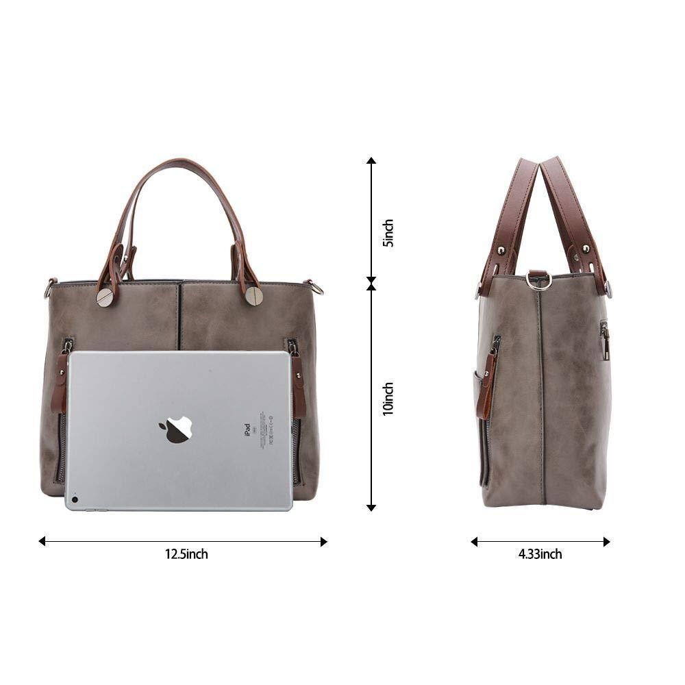 Women Bag Stylish Top-Handle Handbags Lady Fashion Big Purse Shoulder Crossbody Bags (Grey)