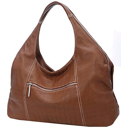 Heshe Womens PU Leather Shoulder Handbags Hobo Bag Top Handle Bag Ladies Designer Purse (Sorrel-A001)