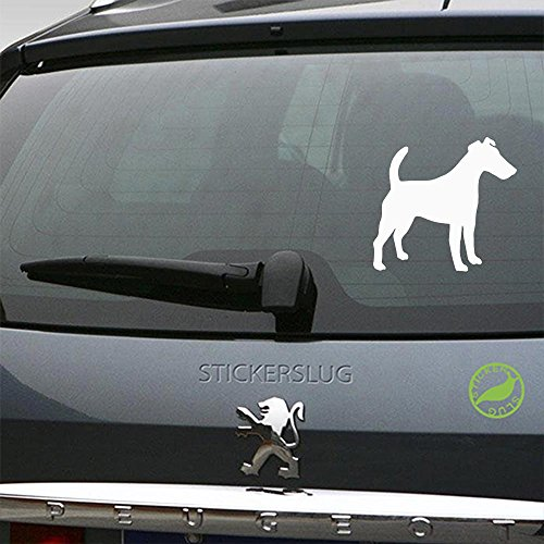 Smooth Fox Terrier Sticker - Smooth Fox Terrier Decal (gloss white, 5 inch, reverse) for car truck window suv boat motorcycle and all other auto glass and bumper in gloss vinyl