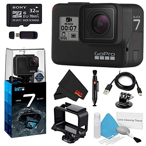 GoPro HERO7 Black 32GB Bundle w/Cleaning Kit, Lens Pen Cleaner, and Memory Card Reader