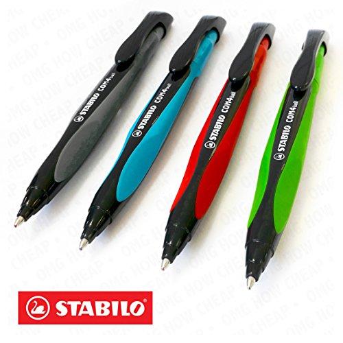 STABILO COM4ball, Kugelschreiber, einziehbar, mit ergonomischer Griffzone-0,5mm-4Stück sortiert Tinte Farben