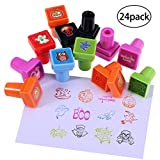 #9: Pixnor Halloween Assorted Stamps 24Pack for Kids Self-Ink Stamps for Holiday Party Favors, 24 Different Designs, 6 Assorted Colors