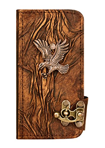 Diving Eagle Pendant Samsung Galaxy S5 Case Handmade Vintage Style Real Genuine Leather Cover Wallet Hardcover Side Flip Case for Samsung Galaxy S5 Co…