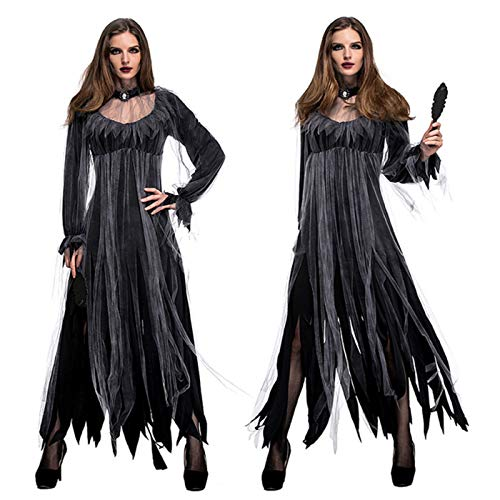 Women's Horror Ghost Bride Dress, Vampire Demon Ghoul Ghostly Spirit Dress, Halloween Scary Outfits (l)
