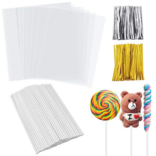 - SelfTek Cake Pops Making Tools 100Pcs Large Lollipop Bags 100Pcs Paper Sticks and 140 Pcs Twist Ties in 2 Colors (Gold and Silver)