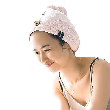 QCHOMEE Sombrero de Cabello secas Adulto niño Toalla secador Microfibra Ligero Super Absorbente de Gorro de baño Ducha Turbante Tapa Cheveaux Secado con ...