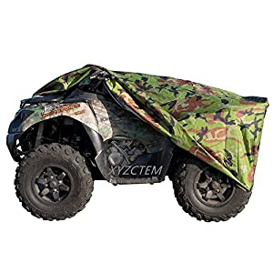 XYZCTEM Waterproof ATV Cover, Heavy Duty Meterial Protects 4 Wheeler From Snow Rain or Sun, Large Size Universal Fits For 87 Inch Most Quads, Elastic Bottom Can Be Trailerable At High Speeds ( Camo )
