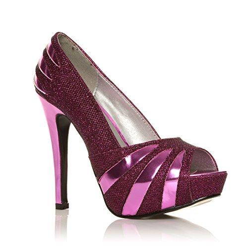 ShuWish Damen Pumps Silber Glitzer Hoher Stilettoabsatz Offene Zehen Party Schuhe H13 Violett Glitter