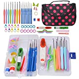 Crochet Hook Set with Case - 8 Crochet Hooks 2.5 MM - 6MM Ergonomic Handle with 36 PCS Accessories - Perfect for Arthritic Hands