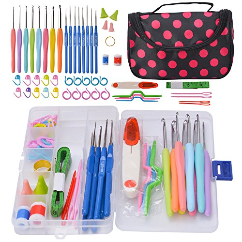 Crochet Hook Set with Case - 8 Crochet Hooks 2.5 MM - 6MM Ergonomic Handle with 36 PCS Accessories - Perfect for Arthritic Hands by HOMIMP