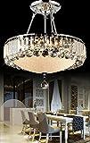 Cheap Dst Luxury Round Crystal Droplets Flush Mount LED Chandelier Ceiling Light Fixture Pendant Lamp for Dining Room Bedroom Livingroom