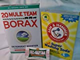 Borax, Fels Naptha, Arm & Hammer Super Washing Powder (Make Your Own Laundry Soap, Includes Family Recipe)