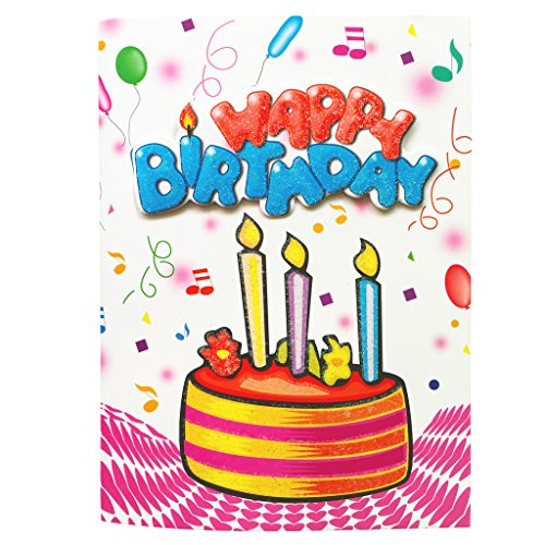 Music Birthday Card, Interactive Sound Birthday Greeting Cards with Pop up Pure Music Happy Birthday to You Song for Mom Wife Husband Dad Kids Children's Adults Birthdays - 1 Count