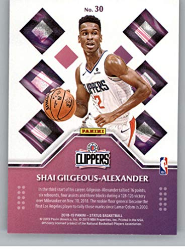 bbf9c0d23ca Amazon.com: 2018-19 Panini Status Rookie Credentials #30 Shai Gilgeous-Alexander  Los Angeles Clippers NBA Basketball Trading Card: Collectibles & Fine Art