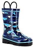 Western Chief Kids' Girls' Waterproof Easy-on Printed Rain Boot, Camo Shark, 12 M US Little Kid