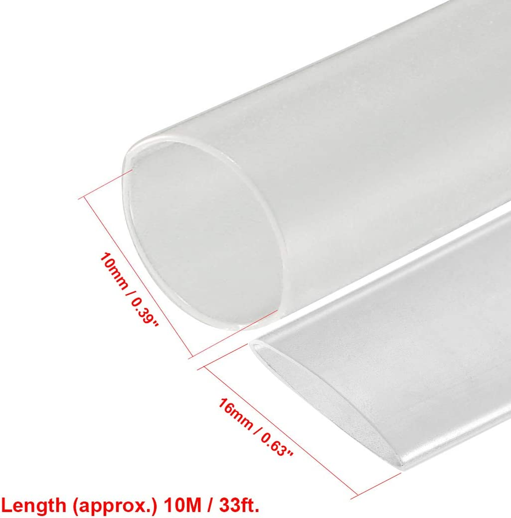 Sourcing map Tube thermor/étractable 2:1 pour c/âble disolation /électrique Transparent 10 mm Diam/ètre 10 m