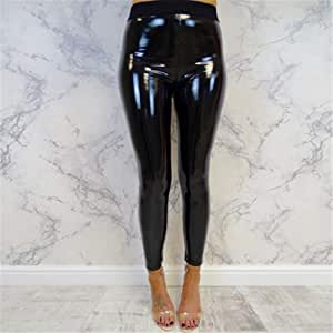 Women's Sexy Faux Leather Yoga Pants,High Waist Stretch Jeggings Slim Look Tight Pants