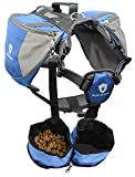 Ruff Armour Outdoor Dog Backpack Carrier Rucksack Saddlebag for Hiking, Exercise, Camping in Small, Medium, Large & Free Bowls Blue