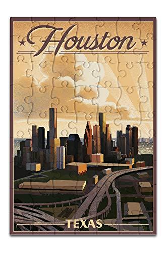 Houston, Texas - Lithograph (8x12 Premium Acrylic Puzzle, 63 Pieces)