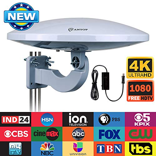Outdoor TV Antenna -Antop Omni-Directional 360 Degree Reception Antenna Outdoor, Attic,RV Used, 65 Miles Range Amplifier Booster 4G LTE Filter, Waterproof, Anti-UV Easy Install (PL-4348226423)