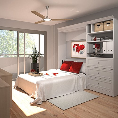 Bestar Versatile 95'' Full Wall Bed with 3-Drawer Storage Unit in White - 95' Wall
