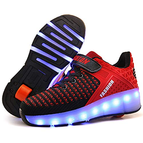 AIkuass Roller Shoes Boys Girls USB Charge LED Light Up Sneaker Kids Wheeled Skate Shoe (3 M US Little Kid, 1- Black Red- Single Wheel) ()