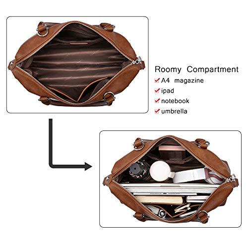 LOVEVOOK Handtaschen Damen Braun Lederimitat Tasche Damen Boston Tasche Umhängetasche Damen Groß Damen Hobo Taschen für Einkaufen Reisen Täglicher Gebrauch - Braun
