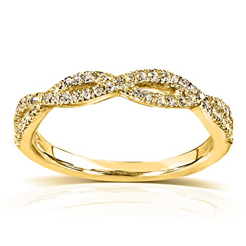 Round Diamond Braided Wedding Band 1/6 carat (ctw) in 14K Yellow Gold, Size 4.5 ()