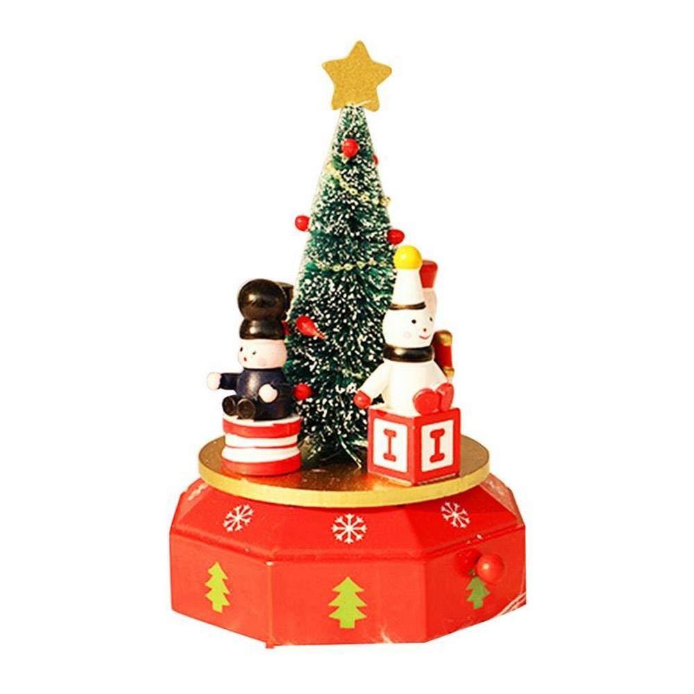 Cajas Musicales Viernes negro Decoración de navidad Caja de música de madera innovadora Árbol de navidad Caballo de madera Forma de muñeco de nieve Regalo ...
