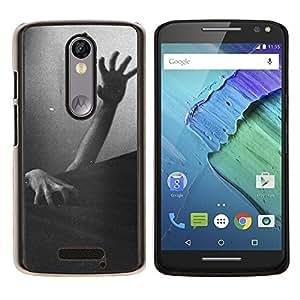 TECHCASE---Cubierta de la caja de protección para la piel dura ** Motorola Moto X ( 3rd Generation ) ** --Zombie Dead Negro Blanco Halloween