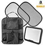 Car Seat Accessories for Kids & Babies: 4 in 1 Set Includes Backseat Organizer with Tablet Holder, Adjustable Rear Facing Baby Mirror & 2 Static Cling Window Sun Shades - Fast Install for Any Vehicle