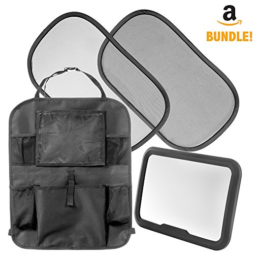 Car Seat Accessories for Kids & Babies: 4 in 1 Set Includes Backseat Organizer with Tablet Holder, Adjustable Rear Facing Baby Mirror & 2 Static Cling Window Sun Shades – Fast Install for Any Vehicle
