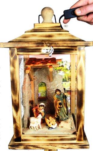 Große KLG-MFOS-GEFLAMMT Holzlaterne - Weihnachtskrippe MIT KRIPPENFIGUREN -Figuren - mit Beleuchtung 220V - Laterne aus Holz -