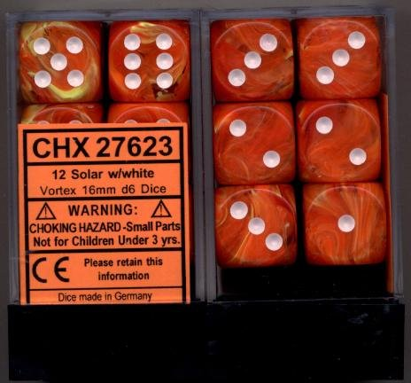 Chessex Dice d6 Sets: Vortex Solar Orange Marble with White - 16mm Six Sided Die (12) Block of Dice - Chessex Rpg Dice Sets