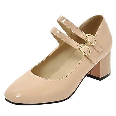 1aac7d3b7e8 TAOFFEN Women Retro Square Toe Pumps Block Heel Court Shoes Strappy Dress  Shoes Beige Size 33