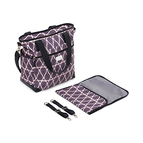 Eco Weekender - Stylish Designer Diaper Bag. Large Capacity Diapering Tote Baby Bag. Includes Adjustable Messenger Strap, Matching Change Pad and Adjustable Stroller Straps.