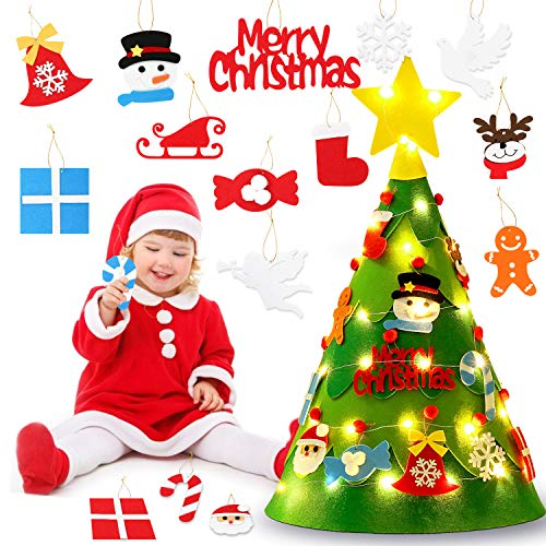 Coxeer Felt Christmas Tree, 3D DIY Felt Christmas Tree Set Cute Creative DIY Xmas Tree with Ornaments String Light Xmas Gifts Christmas Home Decorations (Cute Christmas Gifts Diy)